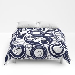 Contemporary Circles Modern Geometric Pattern in Navy Blue and White Comforters