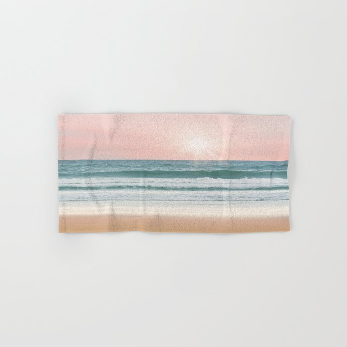 Pink pastel ocean #sunset Hand & Bath Towel