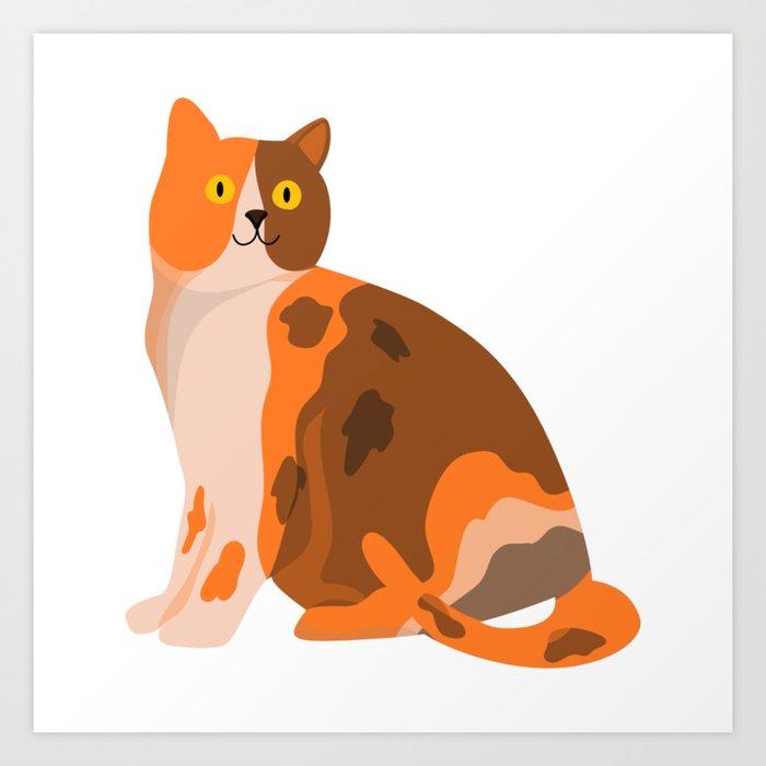 Cute Happy Orange Tricolour Cat Pet Art For Animal Lovers Art Print