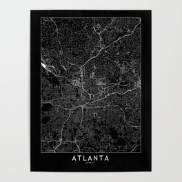 Atlanta Black Map Poster