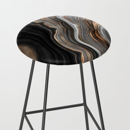 Elegant black marble with gold and copper veins Bar Stool