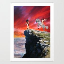 lady werewolf and the horseman Art Print