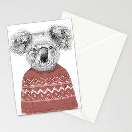 Winter koala (red) Stationery Cards