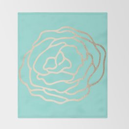 Flower in White Gold Sands on Tropical Sea Blue Throw Blanket