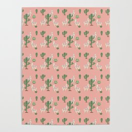 Alpaca with Cacti Poster
