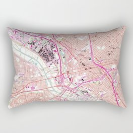 Vintage Map of Dallas Texas (1958) Rectangular Pillow