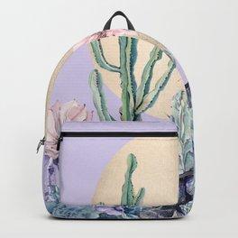 Desert Sun Cactus + Succulents Gold Purple Backpack