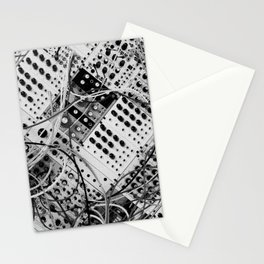 analog synthesizer  - diagonal black and white illustration Stationery Cards