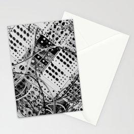 analog synthesizer  - diagonal black and white illustration Stationery Cards