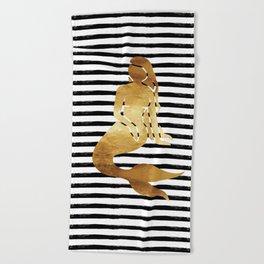 Mermaid & Stripes - Black Beach Towel