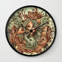elephants Wall Clocks featuring Elephants by Heather Hitchman