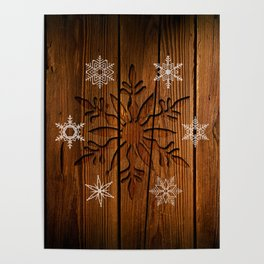 Snowflakes on Wood Poster