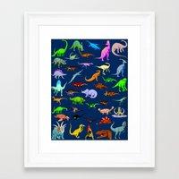 dinosaurs Framed Art Prints featuring Dinosaurs by Raffaella315