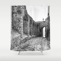 spain Shower Curtains featuring Castellar, Spain by Simon Ede Photography