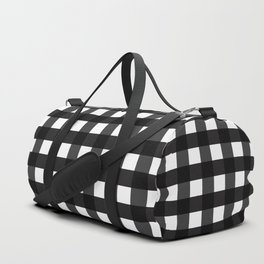 Contemporary Black & White Gingham Pattern Duffle Bag