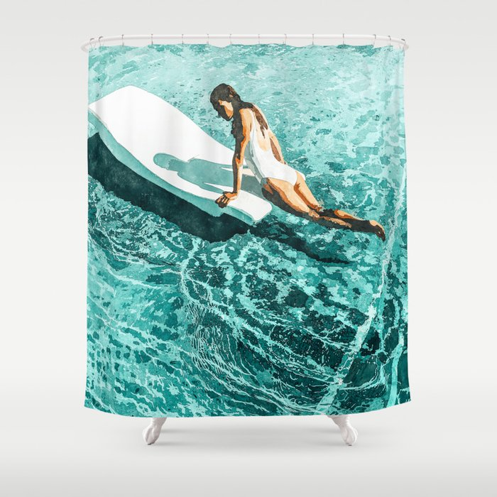 Pool Day #society6 #painting #summer Shower Curtain