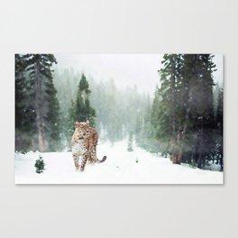 Leopard Running on Snow Canvas Print