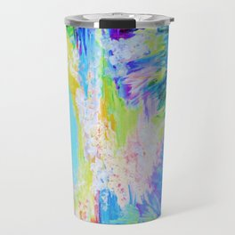 IN DREAMS - Gorgeous Bold Colors, Abstract Acrylic Idyllic Forest Landscape Secret Garden Painting Travel Mug