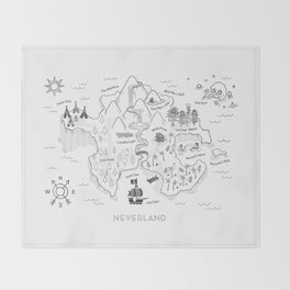 Neverland Map - B&W Throw Blanket