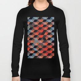 Textured Geometric Long Sleeve T-shirt