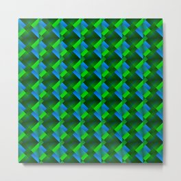 Tile of bright green squares and triangles in blue. Metal Print