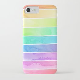 Watercolor Rainbow Stripes in Ombre Summer Pastels iPhone Case