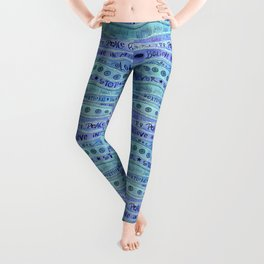 Inspirational Lettering Design In Shades Of Blue Leggings