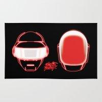 daft punk Area & Throw Rugs featuring Daft Punk by Linda Hordijk