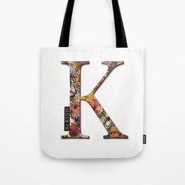 Floral letter K - Be KIND label text, Lo Lah Studio Tote Bag