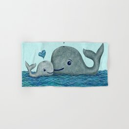 Whale Mom and Baby with Hearts in Gray and Turquoise Hand & Bath Towel
