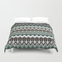 ikat Duvet Covers featuring winter ikat  by Ariadne