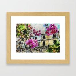 Vintage street in calabria Framed Art Print