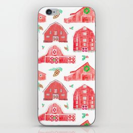 Watercolor Snowy Red Holiday Barns iPhone Skin