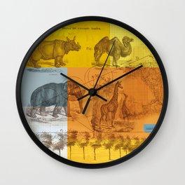 Wild animals collage Wall Clock