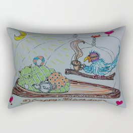 blue bird, parakeet, happy birthday, cat, tea, tea cosy, teatime, Rectangular Pillow