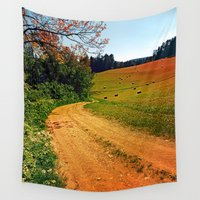hiking Wall Tapestries featuring Hiking trail through springtime nature by Patrick Jobst