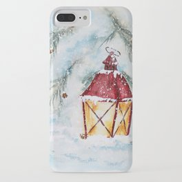 Snowy Red Lantern in the Pines Watercolor iPhone Case