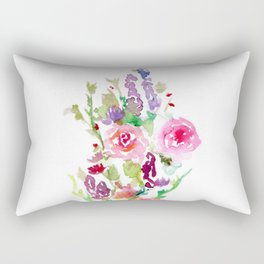 Bright Pink and Purple Wildflowers Rectangular Pillow