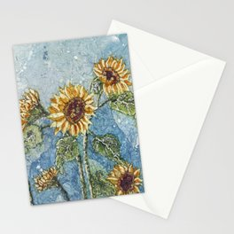 Watercolor Sunflowers,Watercolor Batik, Sunflower Art,Sunflower Flower Stationery Cards