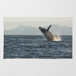 Breaching Whale Photography Print Rug