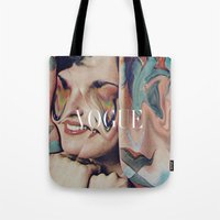 vogue Tote Bags featuring Vogue by Mrs Araneae
