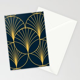 Golden Art Deco Moon Rays Stationery Cards