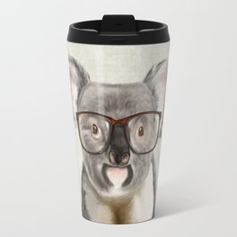 A baby koala with glasses on a rustic background Travel Mug