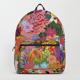 Colorful Flower & Foliage Pattern Backpack