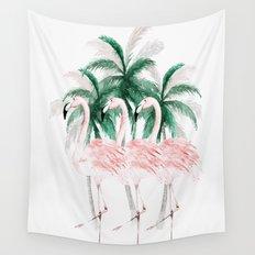 Three Flamingos Wall Tapestry