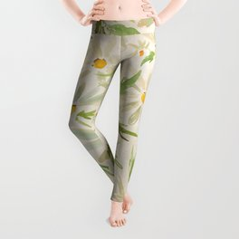 Watercolor Daisy Bouquet - Summer Happy Flowers Painting Leggings