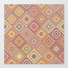 Granny's Millefiori Quilt-Spring Colors Canvas Print