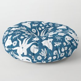 Cephalopods: Background Blue Floor Pillow