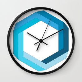 Impossible shape: blue hexagon Wall Clock