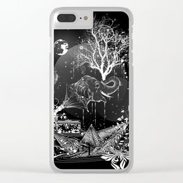 Surrealistic dream, paper boat, elephant, tree and gramophone Clear iPhone Case
